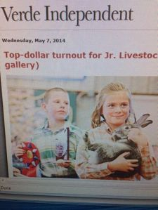 That's our rabbit in the paper! Just pulled in $550 at auction because that child rocked her fair experience! Woo hoo!
